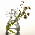 Gift Angel glass transparent  Handmade flower vase